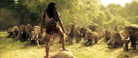 Tony Jaa leads the elephants