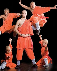 Matthew Ahmet with 'Shaolin monks'